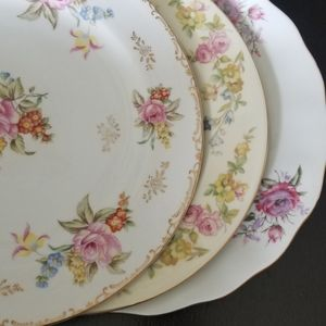 3 vintage plates with matching salad plates